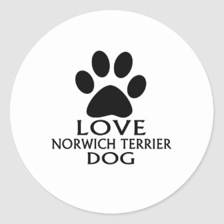 LOVE NORWICH TERRIER DOG DESIGNS CLASSIC ROUND STICKER