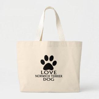 LOVE NORWICH TERRIER DOG DESIGNS LARGE TOTE BAG