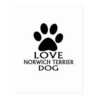 LOVE NORWICH TERRIER DOG DESIGNS POSTCARD