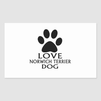 LOVE NORWICH TERRIER DOG DESIGNS RECTANGULAR STICKER