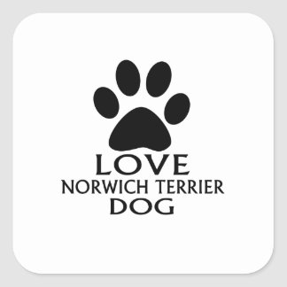 LOVE NORWICH TERRIER DOG DESIGNS SQUARE STICKER