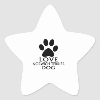 LOVE NORWICH TERRIER DOG DESIGNS STAR STICKER