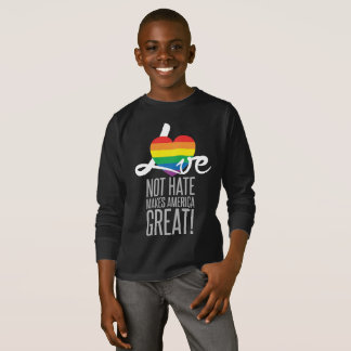Love Not Hate (Rainbow) Boy's Dark Long Sleeve Tee
