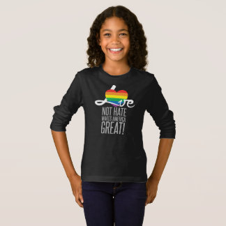Love Not Hate (Rainbow) Girl's Dark Long Sleeve T-Shirt