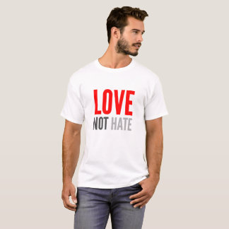 Love Not Hate, red and black T-Shirt