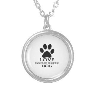 LOVE NOVA SCOTIA DUCK TOLLING RETRIEVER DOG DESIGN SILVER PLATED NECKLACE