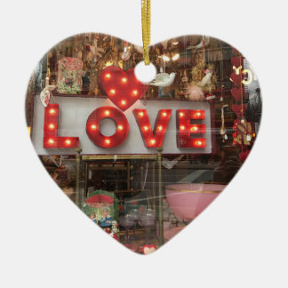 LOVE NYC Valentine's Day Store Window Heart Sign Ceramic Ornament