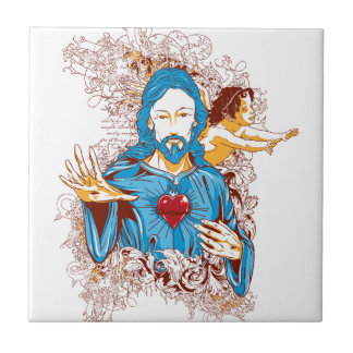 Love of god christ small square tile