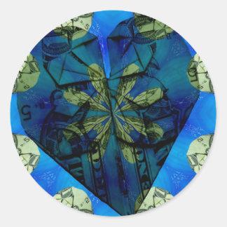 Love of money oragami round sticker
