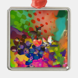Love of Nature with multicolor background. Metal Ornament