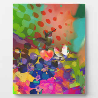 Love of Nature with multicolor background. Plaque