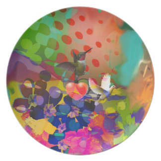 Love of Nature with multicolor background. Plate