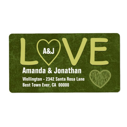LOVE Olive Green Label with Zebra Heart V04a Shipping Label