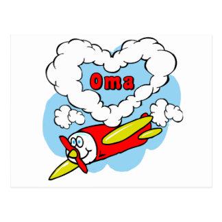 Love Oma Kids Airplane Postcard