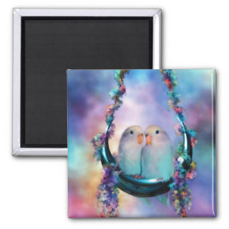 Love On A Moon Swing Art Magnet