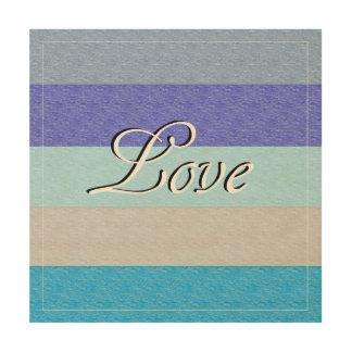 LOVE on Blue Wood Print