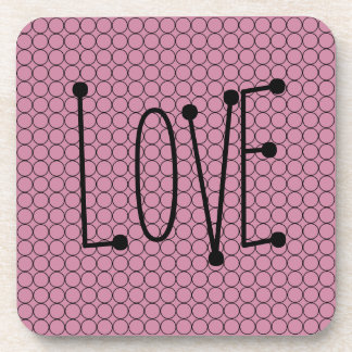 Love On Pink Background With Linked Rings Coasters