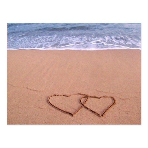 Love on the beach postcard