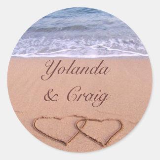 Love on the beach wedding stickers