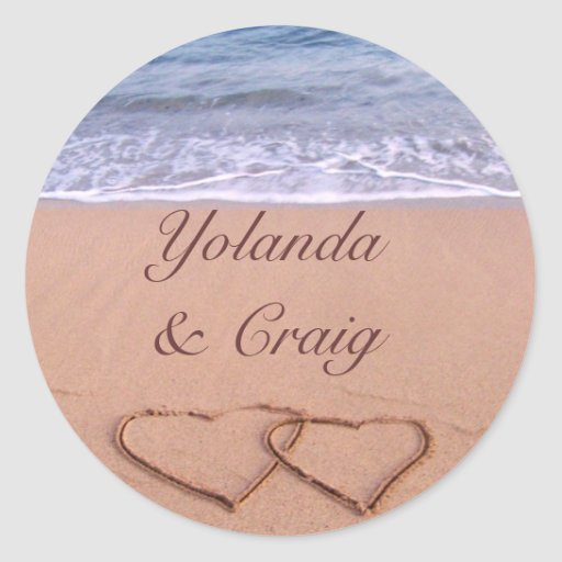 Love on the beach wedding stickers