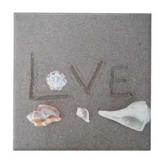 Love on the Beach with sea shells Ceramic Tiles