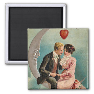Love on the Moon Square Magnet