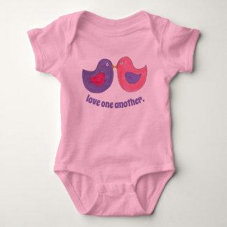 Love One Another Pink Purple Dove Lovebirds Bird Baby Bodysuit