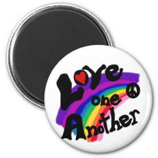 Love One Another Rainbow 6 Cm Round Magnet