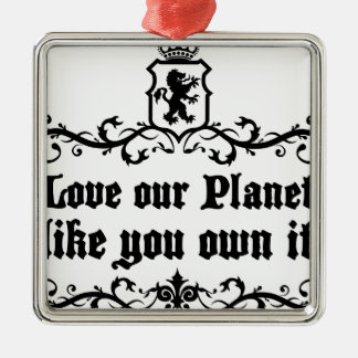 Love Our Planet Like You Own It Medieval quote Metal Ornament
