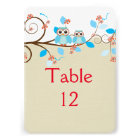 Love Owls Branches Wood Damask Table card 13 Cm X 18 Cm Invitation Card