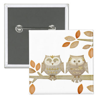 Love Owls in Tree Button