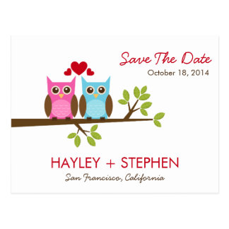 Love Owls Save The Date Card Postcard