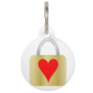 Love padlock pet ID tag