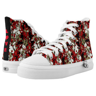 Love Paint Splatter Cheetah Camouflage Zip Shoes Printed Shoes