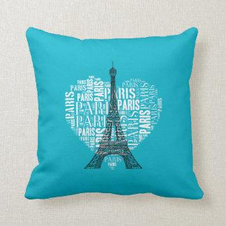 Love Paris Aqua Background Throw Cushion