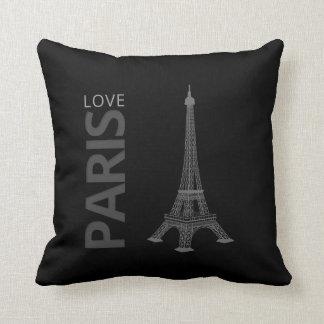 Love Paris Black Background Pillows