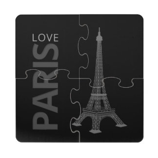 Love Paris Black Background Puzzle Coaster
