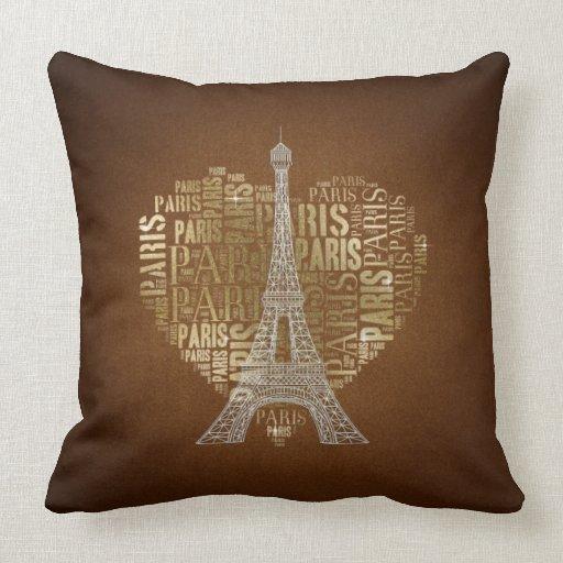 Love Paris Brown Grunge Background Pillows