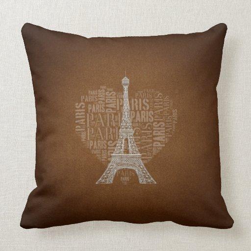 Love Paris Brown Grunge Background Throw Pillow