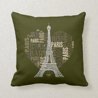 Love Paris Dark Olive Green Background Pillows