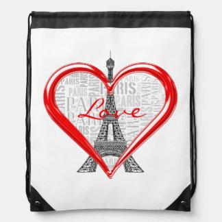 Love Paris Drawstring Bag