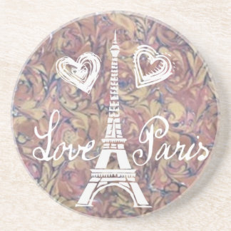 LOVE PARIS EIFFEL AND HEART  WATERCOLOR BEVERAGE COASTERS