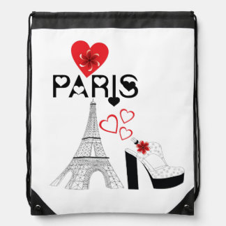 Love Paris fashion Drawstring Bag