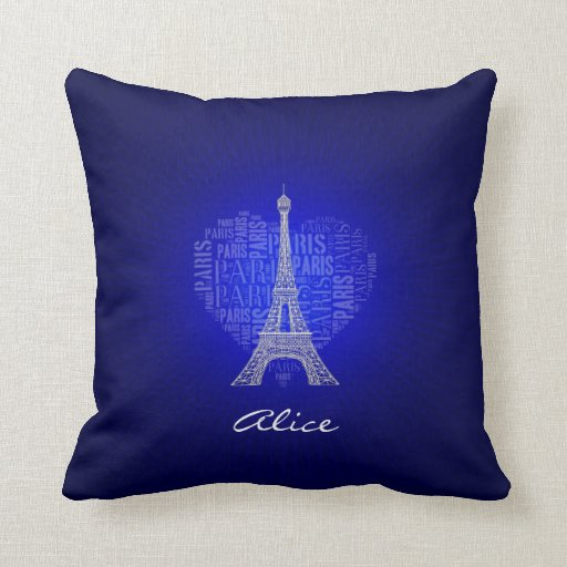Love Paris Glow Blue Background Throw Pillow
