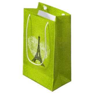 Love Paris Green Glitter Small Gift Bag