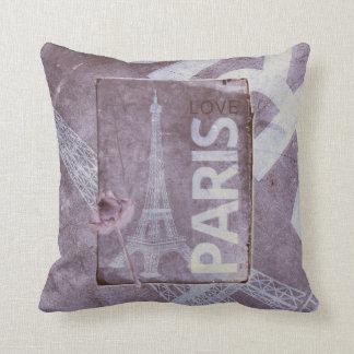 Love Paris Grunge Background Throw Pillows