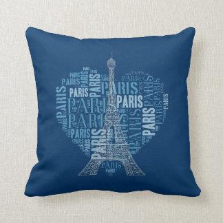 Love Paris Navy Blue Background Throw Cushions