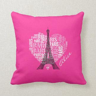 Love Paris Pink Background Throw Cushions