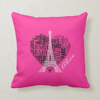 Love Paris Pink Background Pillows