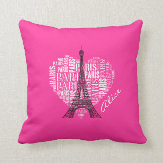 Love Paris Pink Background Throw Cushions